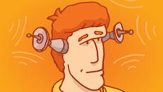 Man listening with satellite antennas as ears
