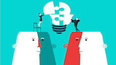Businessman and business woman completing a bulb puzzle. Vector illustration .  Global colors.